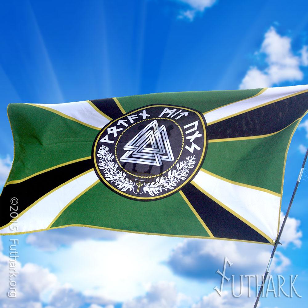 Wotan Mit Uns Valknut Flag Futhark