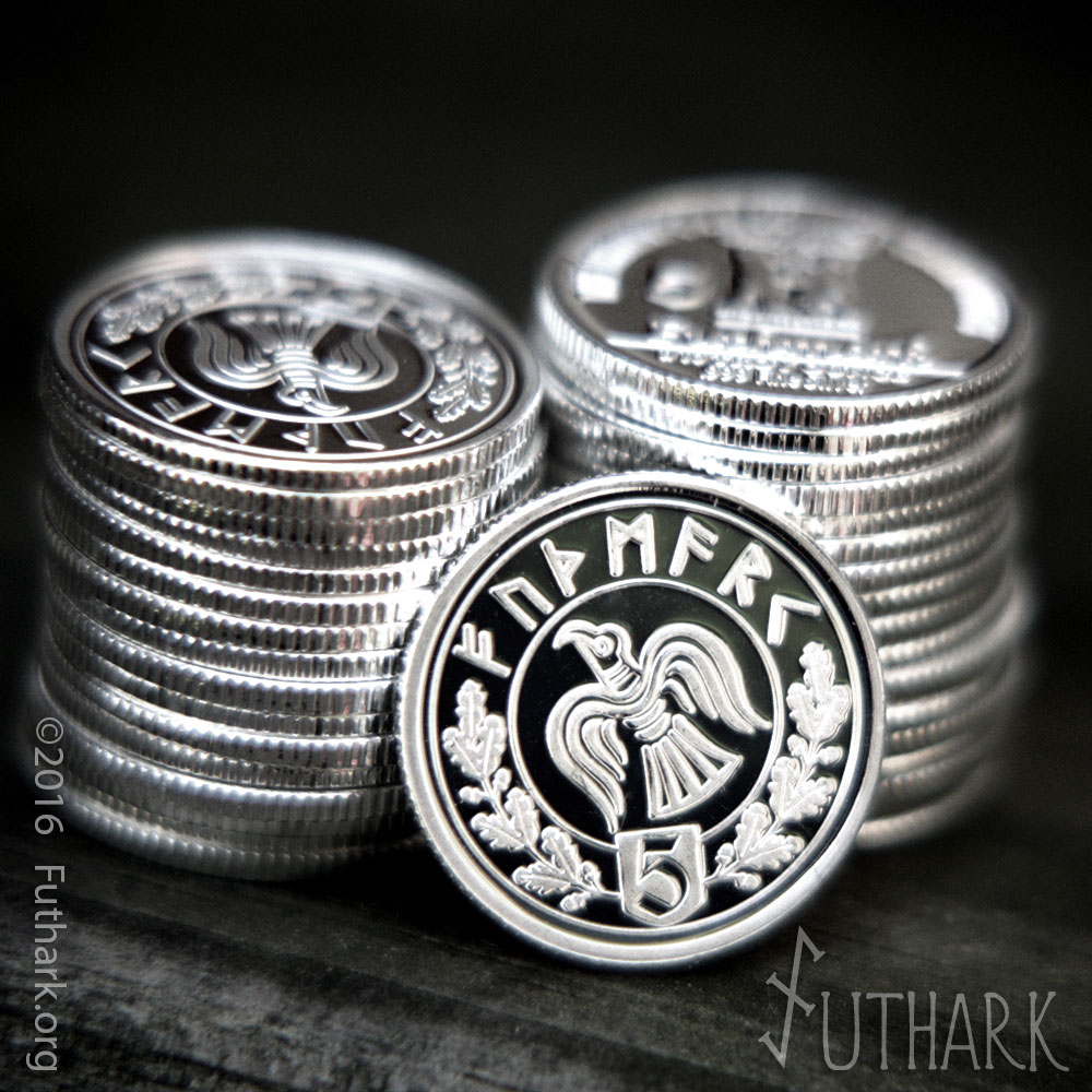Silver 1 10oz Odin S Raven Trade Medallion Futhark